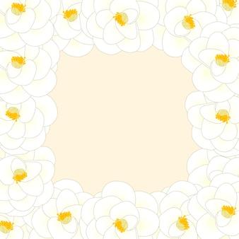 Bordure de fleur de camélia blanc