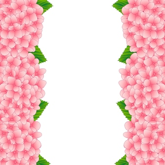 Bordure de fleur d'hortensia rose
