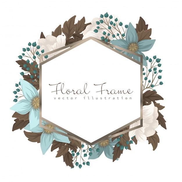 Bordure fleurie cadre floral vert menthe