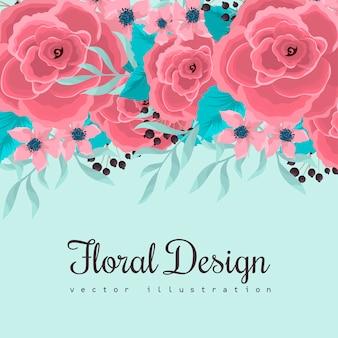 Bordure fleurie dessin de fleurs roses sur fond vert menthe