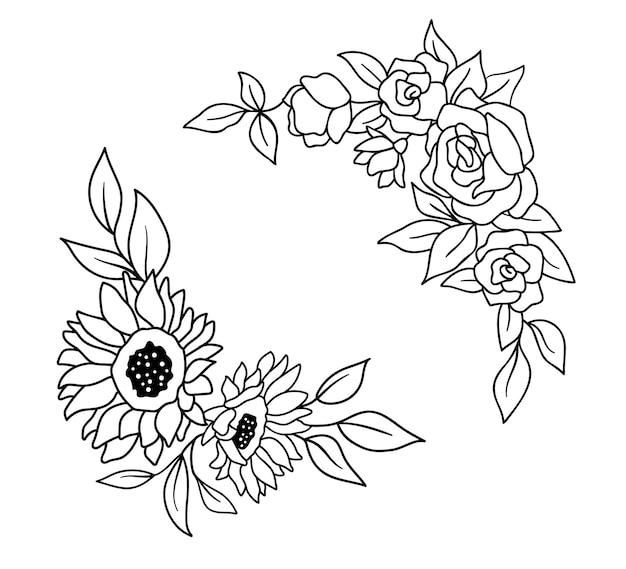 Bordure fleurie avec fleurs roses et tournesols dans le style de contour.