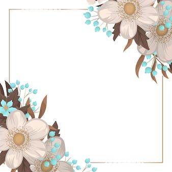 Bordure fleurie fond floral blanc