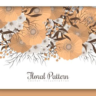 Bordure fleurie de fond floral jaune