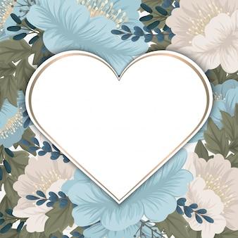 Bordure fleurie fond floral vert menthe