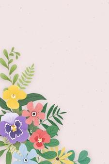 Bordure fleurie sur fond rose