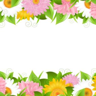 Bordure de fleurs et de feuilles,.