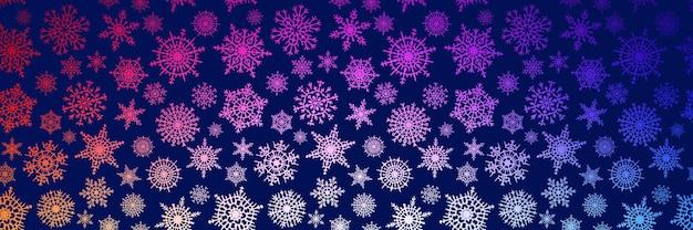 Bordure de flocons de neige, bannière, fond de vecteur d'hiver, thème de noël