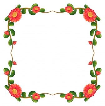 Une bordure florale avec un cadre de fleurs orange