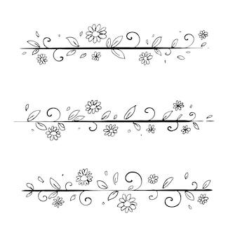 Bordure florale dessinée à la main