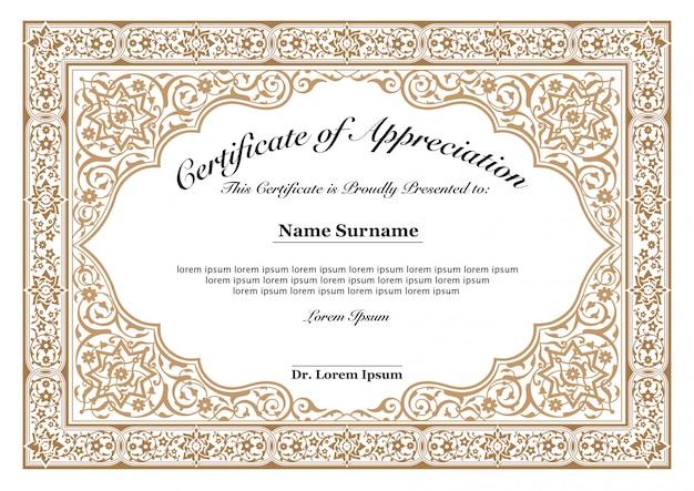 Bordure florale dorée pour certificat