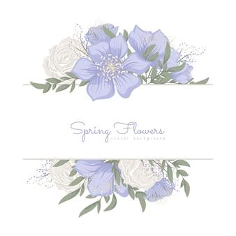 Bordure florale avec des fleurs douces