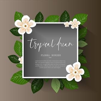 Bordure florale tropicale