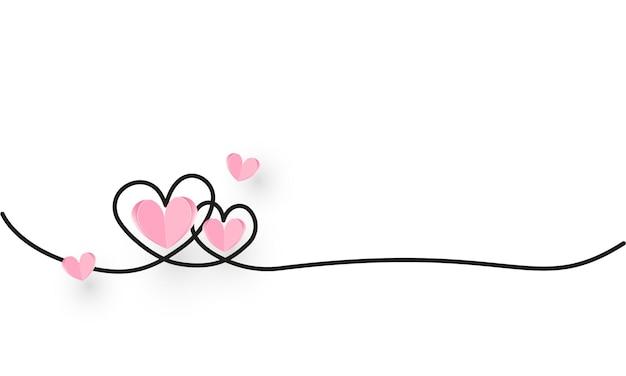 Bordure en forme de coeur de ligne continue avec coeur de papier réaliste sur fond blanc