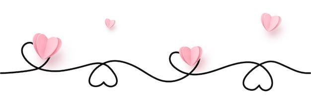 Bordure en forme de coeur de ligne continue avec coeur en papier réaliste