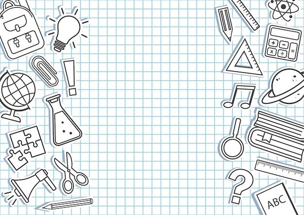 Bordure de fournitures scolaires sur fond quadrillé. cadre de l'éducation. vecteur