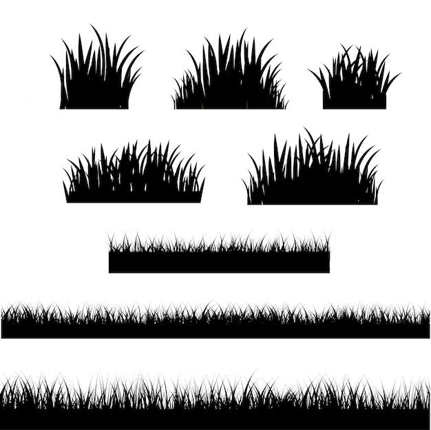 Bordure herbe fond blanc