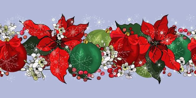 Bordure horizontale de noël avec poinsettia, baies, fleurs, flocons de neige, arc, boules.