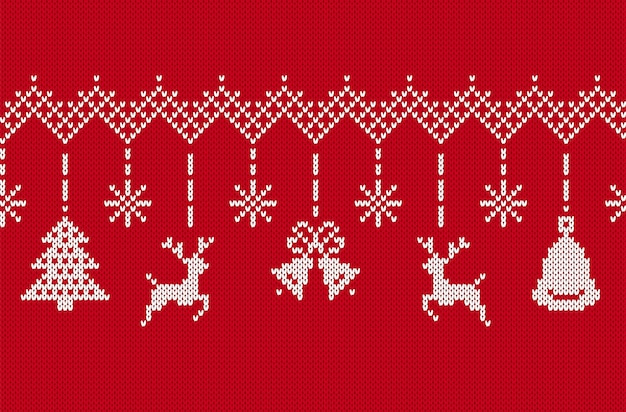 Bordure de joyeux noël. tricoter le modèle sans couture rouge. illustration vectorielle.