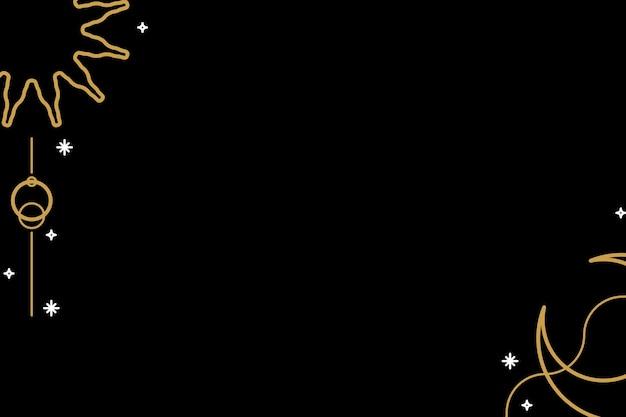 Bordure de lune et de soleil d'or sur un vecteur de fond noir