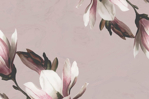 Bordure de magnolia sur fond beige