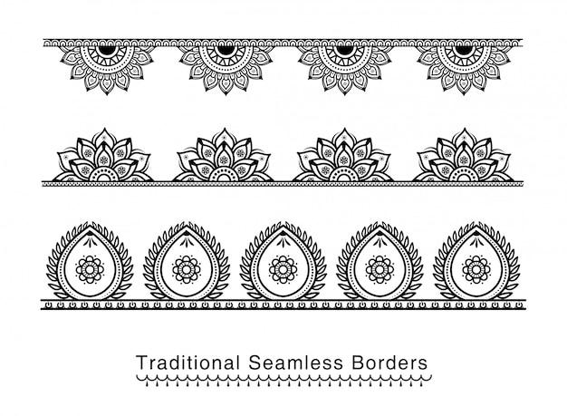 Bordure de mandala sans couture conçoit des détails élevés