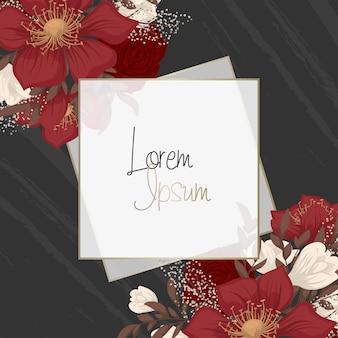 Bordure de mariage floral avec des fleurs rouges