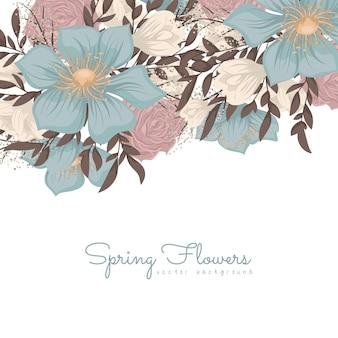Bordure de motifs de fleurs - fleurs bleues