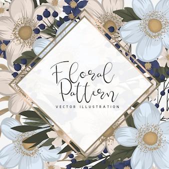 Bordure de motifs floraux - fleurs bleu clair
