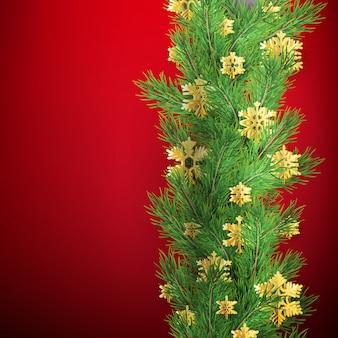 Bordure de noël faite de branches de pin d'apparence réaliste avec des flocons de neige de feuille d'or sur le rouge.