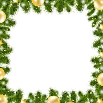 Bordure or de noël, isolé sur fond blanc