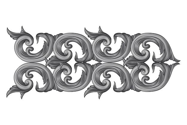 Bordure ornementale baroque dessinée à la main