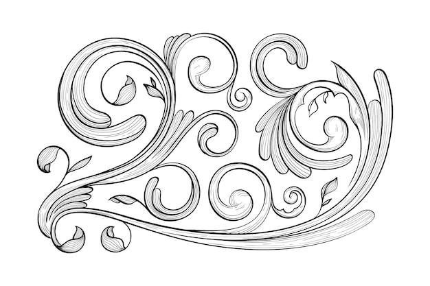 Bordure ornementale dessinée en style baroque