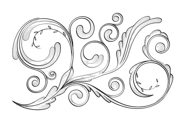 Bordure ornementale réaliste dessinée à la main