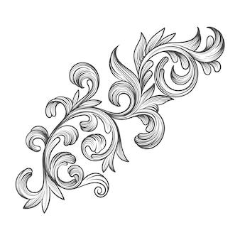 Bordure ornementale réaliste de style baroque