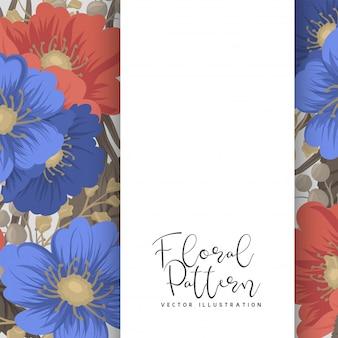 Bordure de page de fleurs - fleurs bleues et rouges