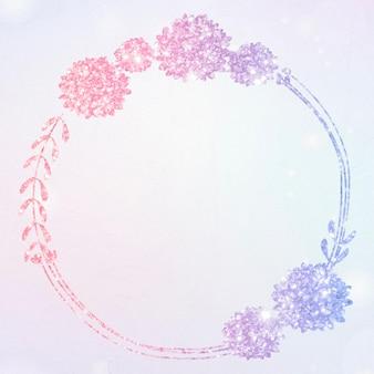 Bordure de paillettes de couronne florale de vecteur