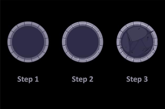 Bordure en pierre de gui pour l'icône de l'application, 3 étapes dessinant des cadres gris pour le jeu.