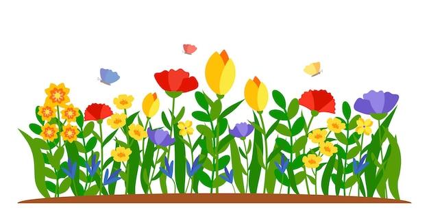 Bordure plate de fleurs d'été en style cartoon