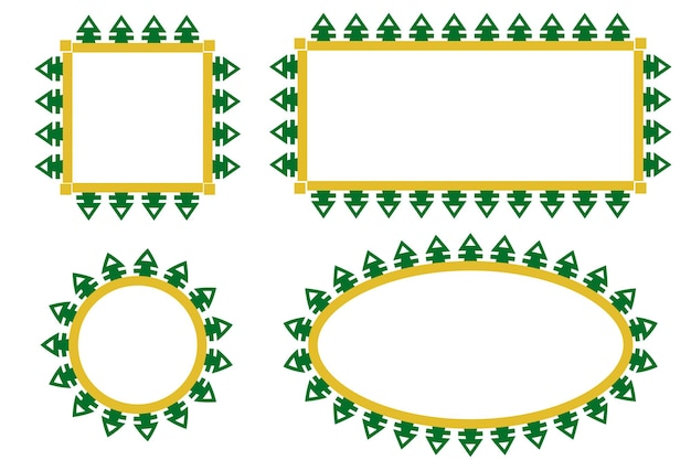 Bordure de porte verte et jaune de vecteur ou décoration de cadre maison traditionnelle de betawi old jakarta, indonésie