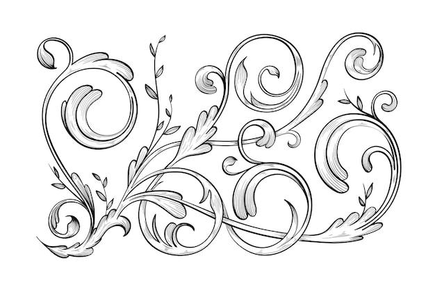Bordure réaliste ornementale dessinée à la main