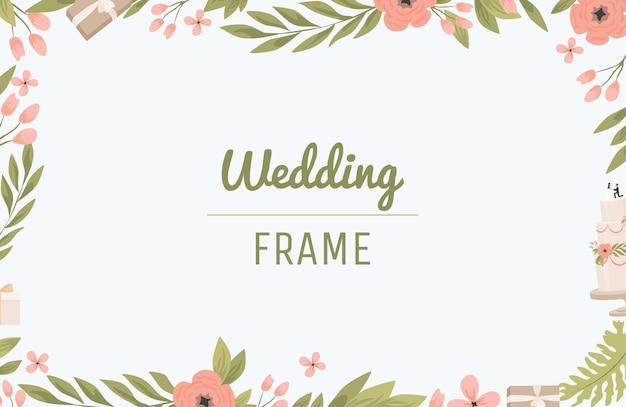 Bordure rectangulaire de conception plate de cadre de mariage