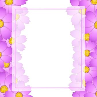 Bordure rose de carte de fleur de cosmos