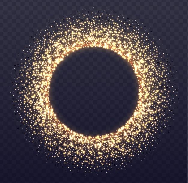 Bordure rougeoyante avec des étincelles. poussière d'or tombée isolée sur transparent