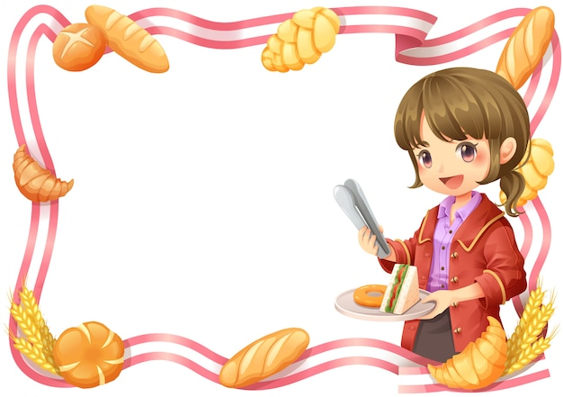 Bordure de ruban fille de bureau et boulangerie