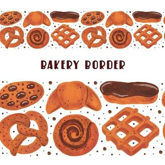Bordure sans couture de boulangerie ensemble de boulangerie. bretzel croissant bagel roll éclair gaufres biscuits aquarelle nourriture
