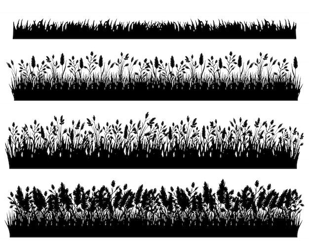 Bordure de silhouette d'herbe ensemble isolé