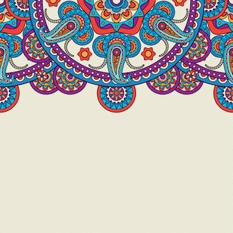 Bordure supérieure du doodle indien paisley