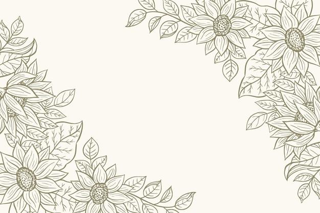 Bordure de tournesol dessinée à la main de gravure avec espace de copie