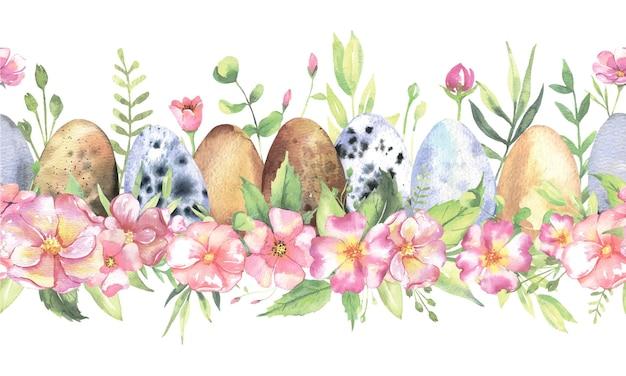 Bordure transparente aquarelle avec des fleurs oeufs de pâques
