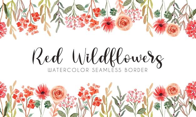 Bordure transparente aquarelle fleurs sauvages rouges